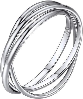 925 Sterling Silver Triple Interlocked Ring Size 8