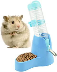 125ml/4oz Hamster Water Bottle with Food Container Base Hamster Water Dispenser Hanging Water Feeding Bottles Auto Dispenser for Dwarf Hamsters Small Animals (125ML, Blue)