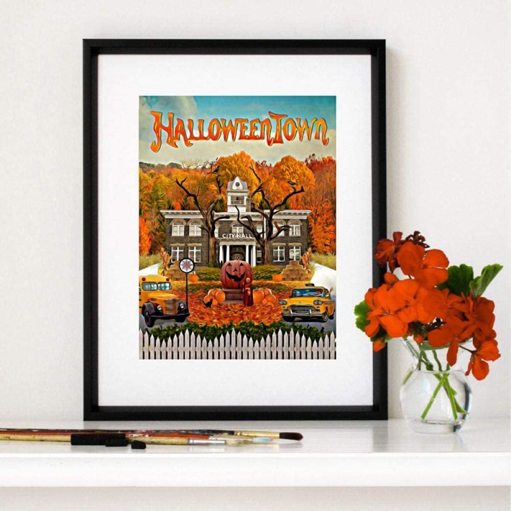 wsqyf Halloween Town Poster and Print Classic Fantasy Family Comedy Movies Canvas Painting Wall Picture for Living Room Home Decor 50x70cm (no Frame)