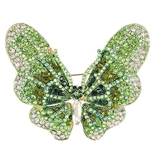 (EVER FAITH Women's Austrian Crystal Butterfly Brooch Green Gold-Tone )