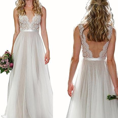 Sunroyal Mujer Vestido de Novia Largo V Cuello Sin Espalda Baile de Encaje Blanco Gasa Vestido de boda Wedding Dress S-XL: Amazon.es: Deportes y aire libre