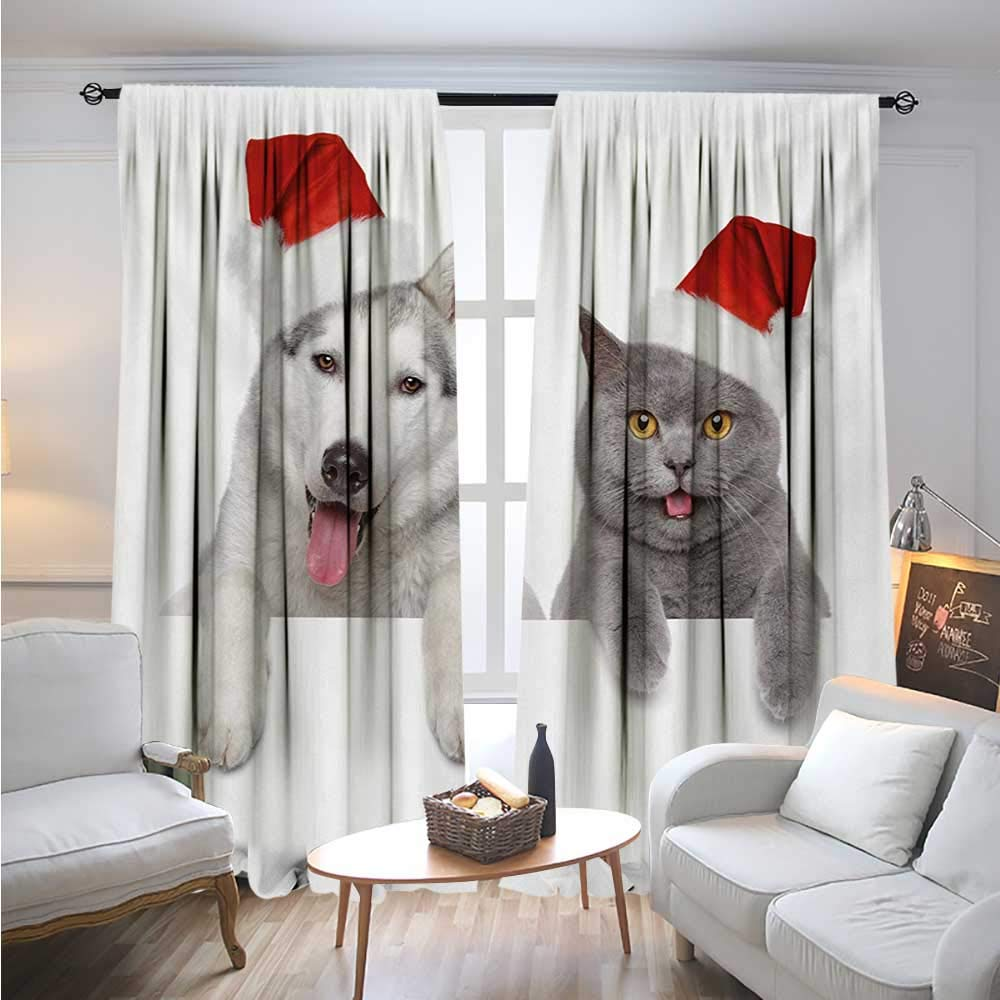 color10 W72\ color10 W72\ BlountDecor ChristmasBlackout DrapesCute Dog and Cat in Santa Red Hats Funny Puppy and Kitty Domestic Pet AnimalCover The Sun W72 x L96 White Grey Red