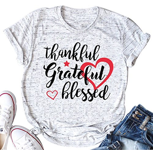(Thankful Grateful Blessed Thanksgiving Tee Shirt Fashion Casual Tops for Women (Medium))