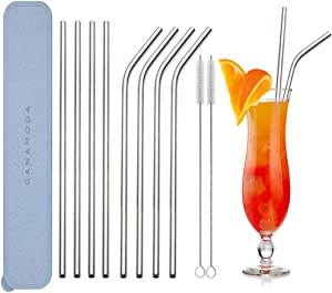 Stainless Steel Straws Reusable, GANAMODA 6mm Diameter, Ultra Long 10.5'' Drinking Straws for Yeti 20oz/30oz Tumblers/ Ramblers Cold Beverage, Cleaning Brush Included(4 Straight|4 Bent|2 Brushes)Blue
