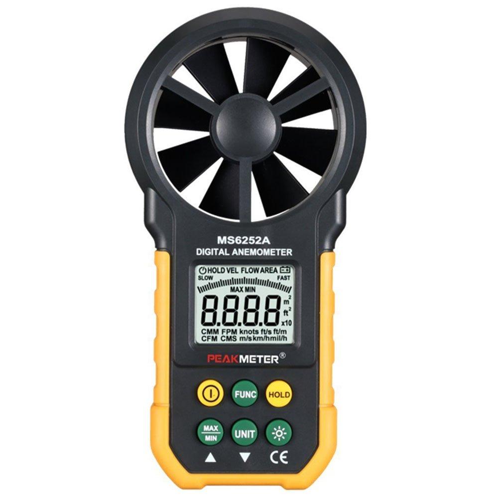 peakmeter MS6252A Anémomètre numérique multifonction portable Compteur mesure Vitesse du vent Air Volume électronique avec écran LCD avec rétroéclairage Generic