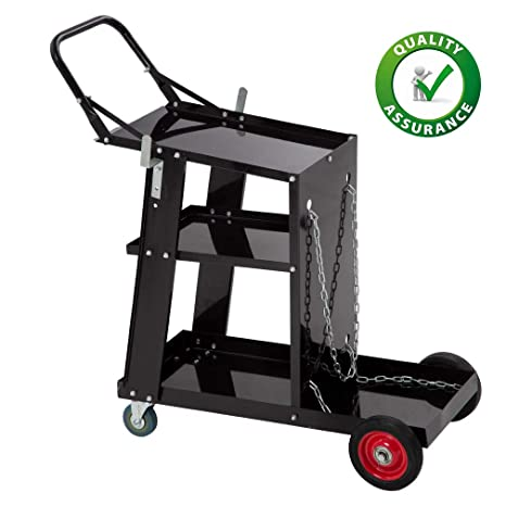 e333f81cf9be Welding Cart Welder Plasma Cutter Cart 3-Tier Universal Heavy Duty MIG TIG  ARC Storage for Tanks with 2 Safety Chains, Black