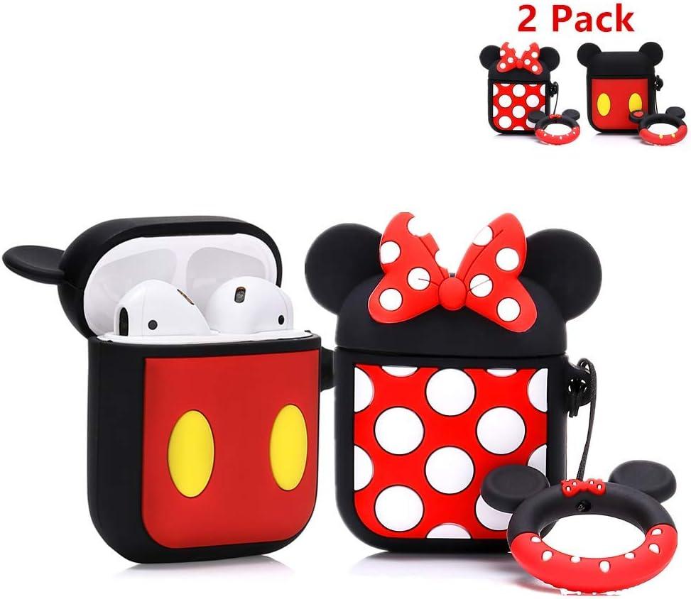 LEWOTE Airpods Carcasa de Silicona Compatible con Airpods de Apple 1 y 2 [Diseño de Dibujos Animados][Niñas o Parejas] (2Pack Minnie/Mickey)