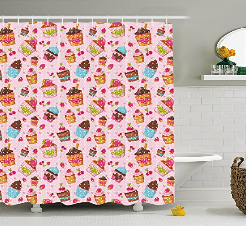 Pink Strawberry Cupcake (Pink Shower Curtain by Ambesonne, Decorations for Kitchen Cupcakes Muffins Strawberries and Cherries Print, Fabric Bathroom Decor Set with Hooks, 75 Inches Long, Light Pink and Brown)