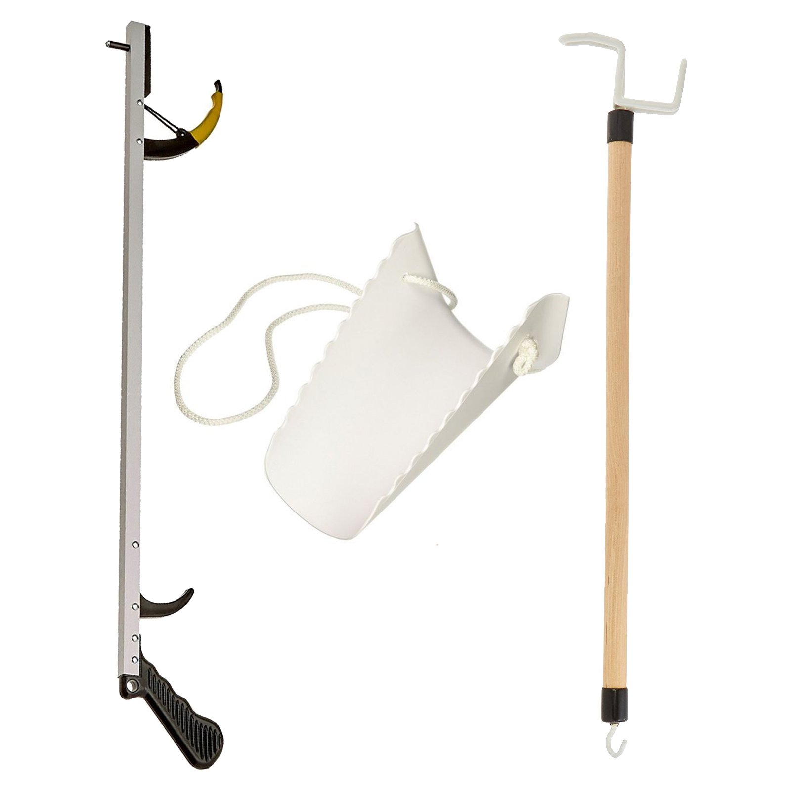 Sammons Preston Assistive Device Kit 6, Includes 26'' SPR Reacher, Compression Stocking Aid & 26'' Dressing Stick, Adaptive Independent Daily Living Aid for Those with Limited Reaching Ability