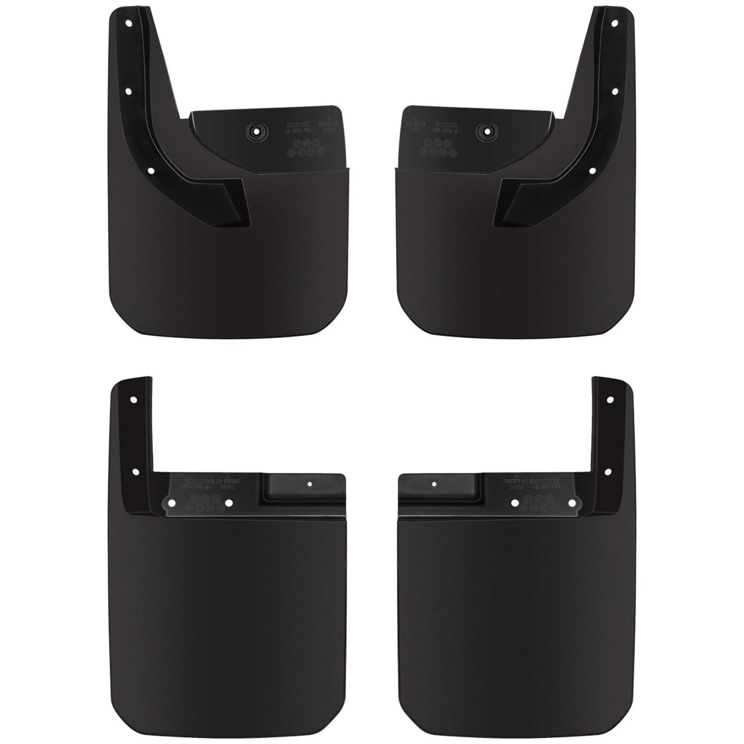 Deluxe Front and Rear Splash Guards Fender Flares Mud Flaps Replace 82215333 82215332AB for Jeep Wrangler JL 2018 2019