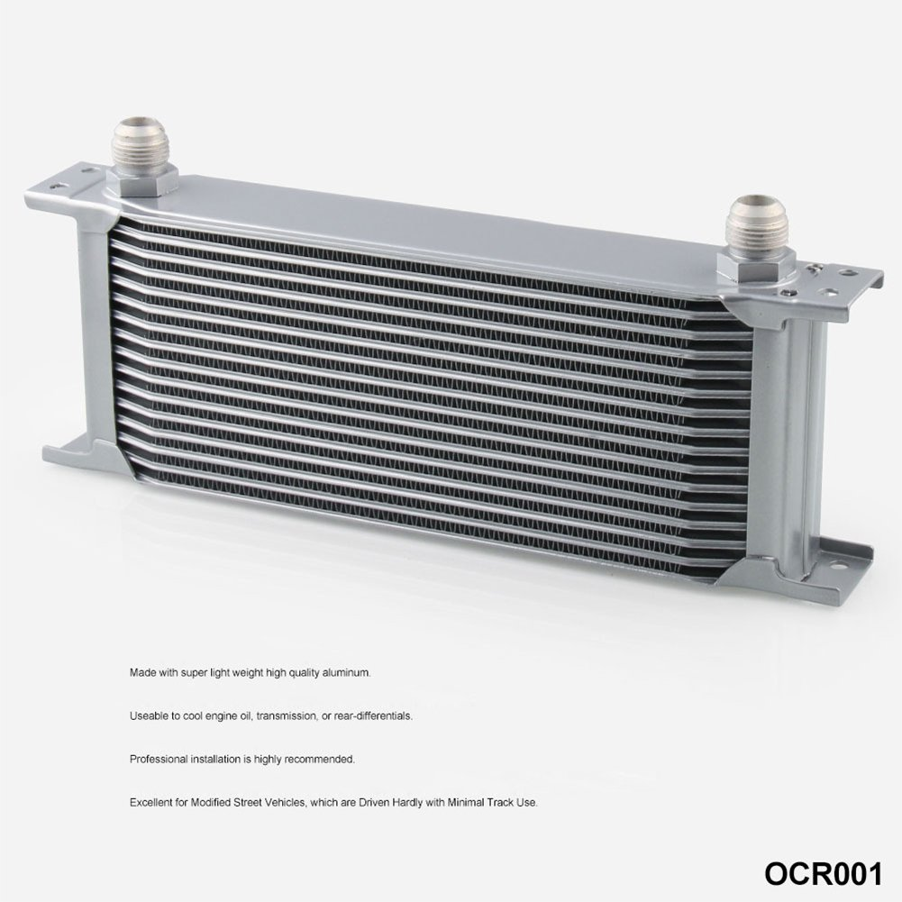 EDTara Universal Aluminum Engine Transmission Oil Cooler Silver 16 ROW AN-10AN