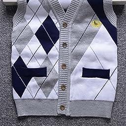 Happy Cherry Gentle Boys Cardigan Knit Sweater V Neck Waistcoat Sweater Vest Gray 6T