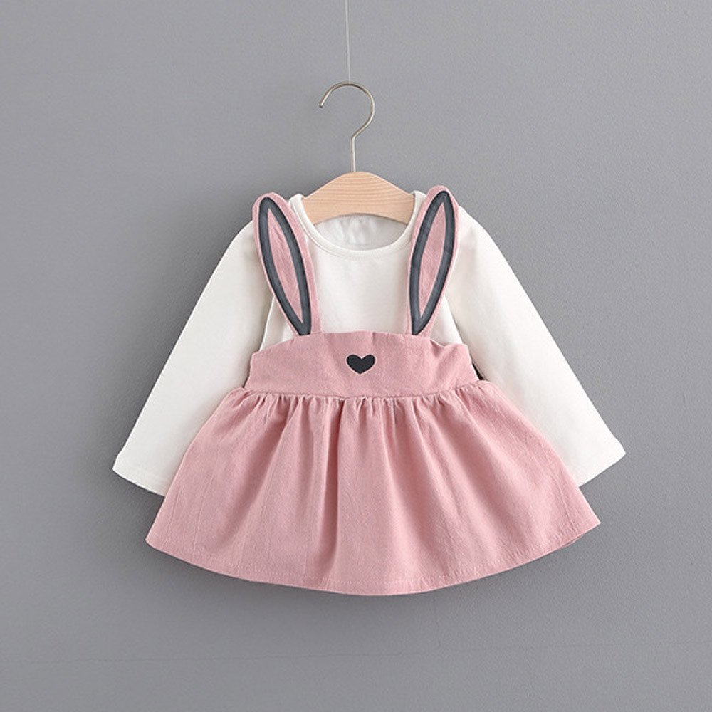 Hotsellhome Cute Baby Kids Toddler Girls Rabbit Bandage Suit Mini Autumn Winter Cotton O-Neck Dress 0-3 Years Old