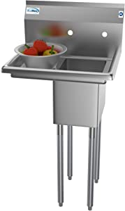 "KoolMore 1 Compartment Stainless Steel NSF Commercial Kitchen Prep & Utility Sink with Drainboard - Bowl Size 10"" x 14"" X 10"""