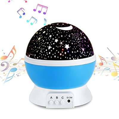 Étoiles Nuit lampe lampe de projecteur avec musical doux lumières rotatif à 360° rond Lumière de nuit lampe de projecteur enfants Chambre à coucher Lit lampe pour Noël enfant