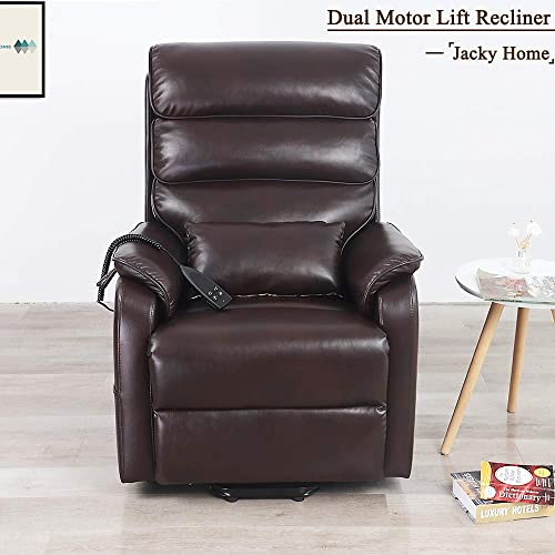 Jacky Home Lift Recliner Dual Motor Lay Flat Electric Power Chair for Elderly, Infinite Position Breathable Leather Heavy Duty Living Room Sturdy Sofa with Side Pocket Brown