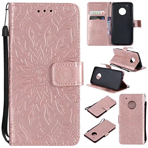 Price comparison product image Moto G5 Plus Wallet Case, A-slim(TM) Beauty Fashion Sun Pattern Embossed PU Leather Magnetic Flip Cover Card Holders & Hand Strap Wallet Purse Cover Case for Motorola Moto G5 Plus (2017) - Rose Gold