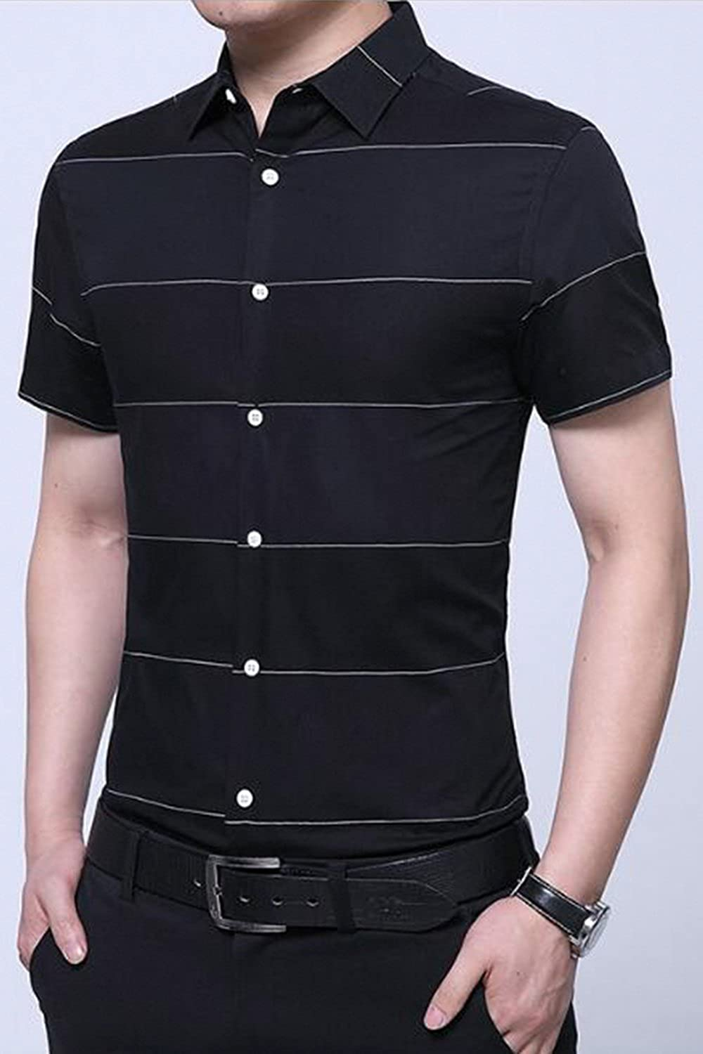 Vepodrau Men Button Down Short Sleeve Collared Slim Stripes Top Shirt