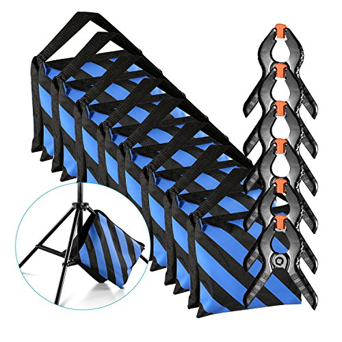 Neewer 8-Pack Heavy Duty Sandbag (Blue/Black) for Photo Studio Light Stands Boom Arms with 6-Pack Muslin Backdrop Spring Clamps Clips (Empty Sandbag) by Neewer