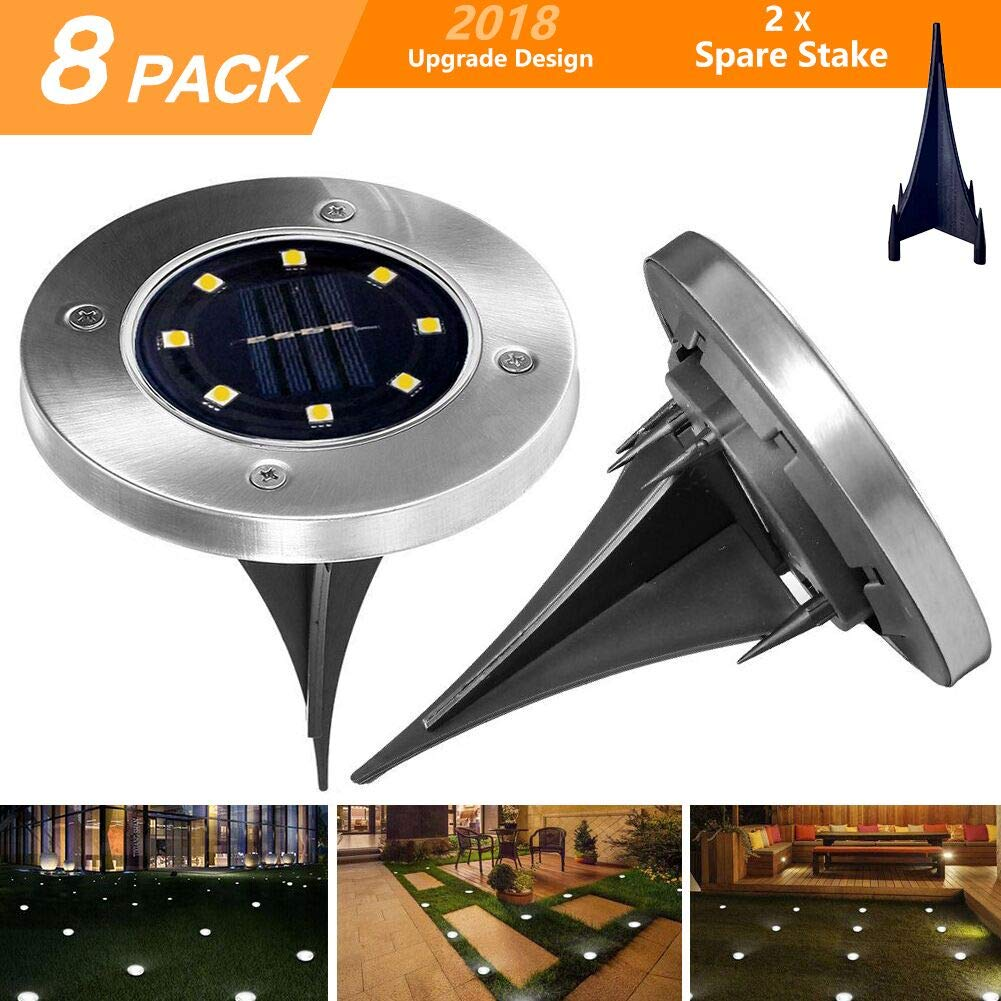 ANDYKEN Solar Ground Lights Outdoor - Upgraded 8 LED Solar Garden Lights Waterproof Solar Landscape Lighting for Lawn Patio Yard Walkway Driveway Warm White (8 Pack)