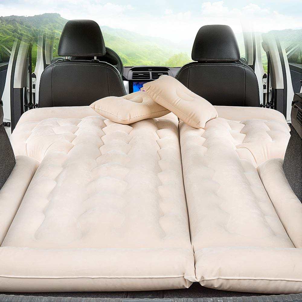 Car SUV Air Mattress Camping Bed with Pillow, Inflatable with Pump for Rest Sleep Travel Camping (Beige) by Meiso