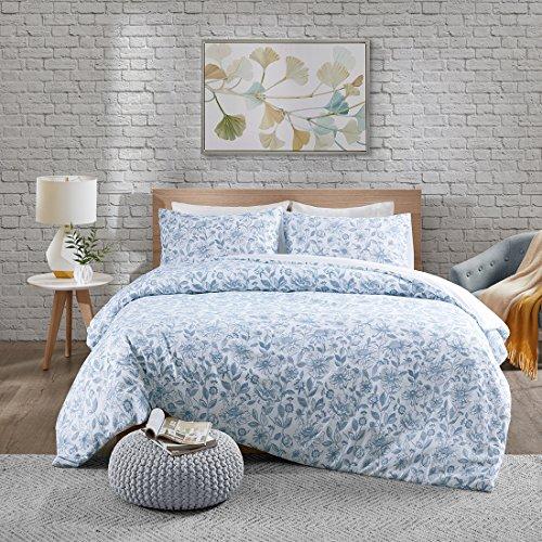 Bettwäsche 135x200cm Blau Blumen 2 Teilig Bettbezug Kissenbezug