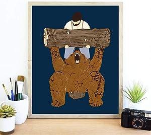 Sharp Shirter Funny Bear Poster Hilarious Meme Art Manly Home Decor Cool Artwork for Gym Wall Man Spotting Bear Blue