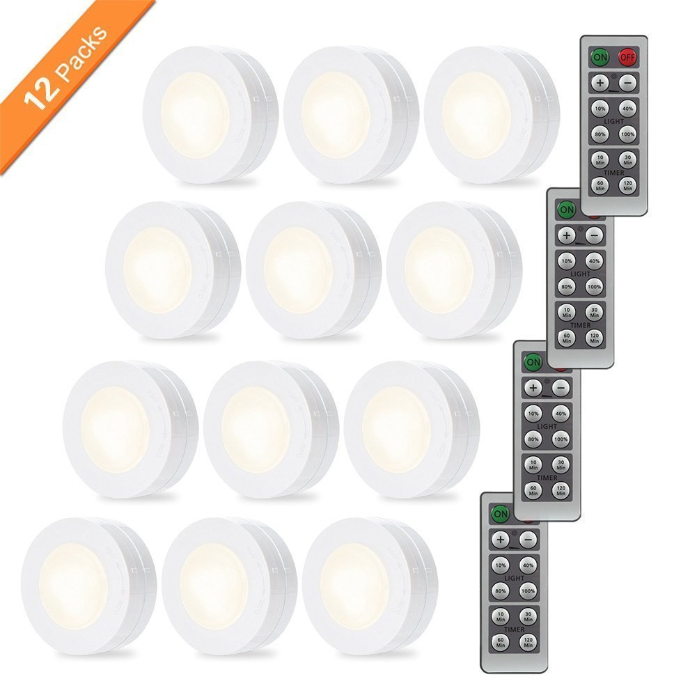 LUNSY Wireless LED Puck Lights, Closet Lights Battery Operated with Remote Control, Kitchen Under Cabinet Lighting Wireless, 4000K Natural White - 12 Pack