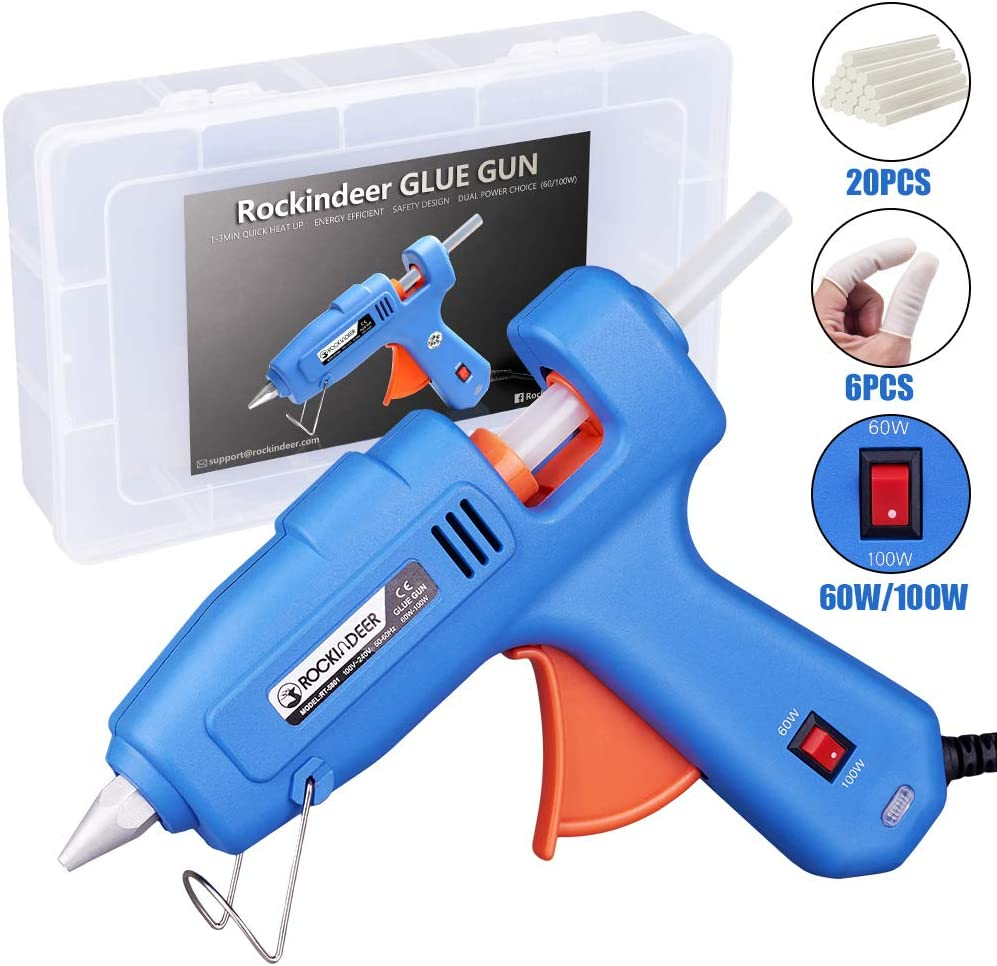 60/100W Full Size Hot Glue Gun with Carrying Box and 20 Pcs Glue Sticks, Dual Power High Temp Heavy Duty Melt Glue Gun Kit for DIY Crafts Arts Home Quick Repairs Festival Decoration by Rockindeer