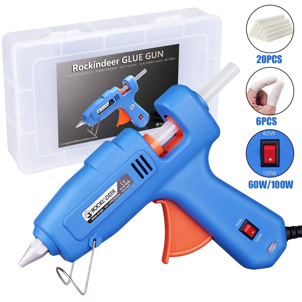 Hot Glue Gun with Carrying Box and 20 Pcs Glue Sticks , 60/100W Full Size Dual Power High Temp Heavy Duty Melt Glue Gun Kit for DIY Crafts Arts Home Quick Repairs Festival Decoration by Rockindeer