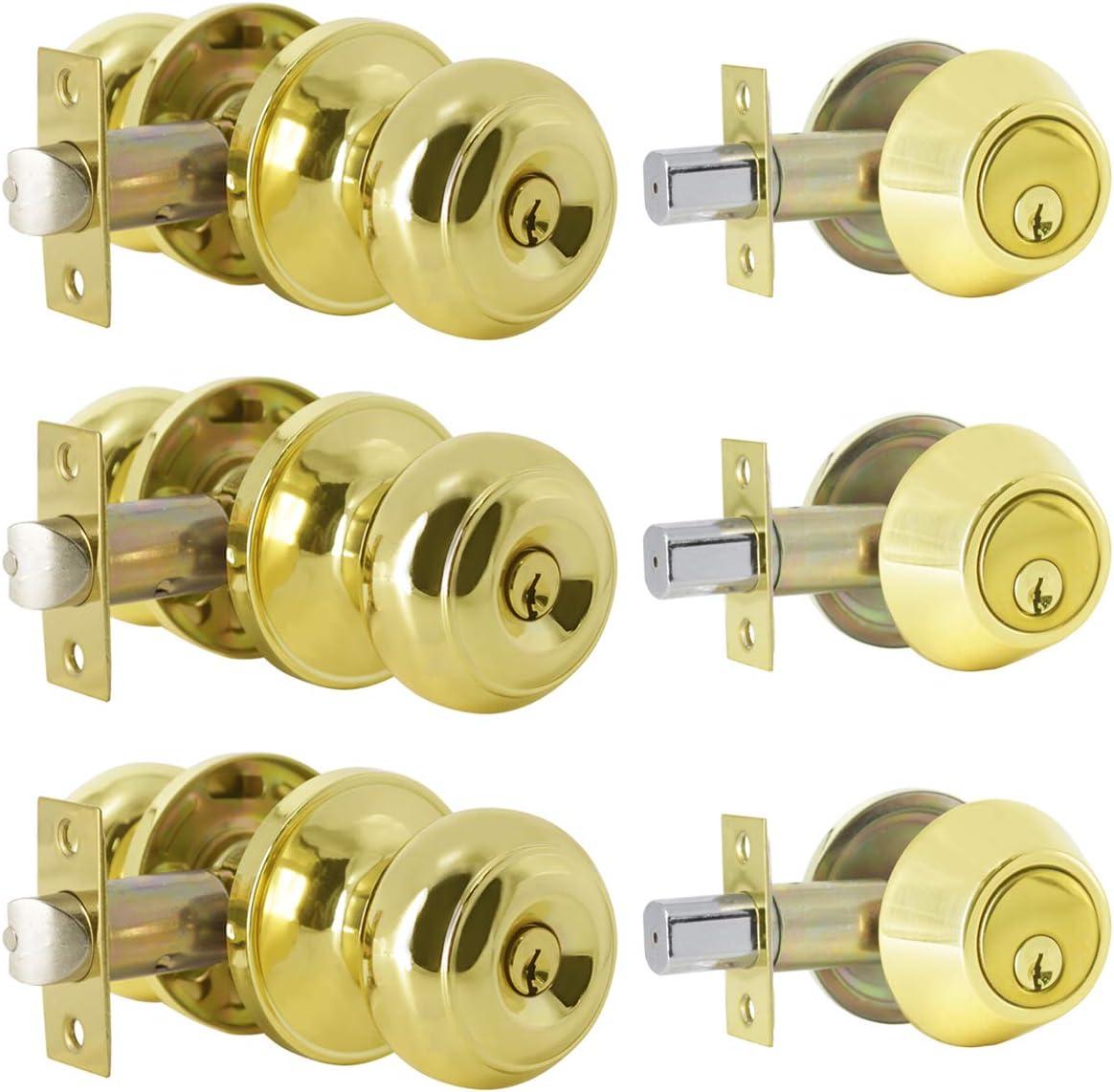 3 Pack Keyed Alike Entry Door Knob and Single Cylinder Deadbolt Lock Combo Set, Front Door Entry Knobs Lockset and Deadbolt Combination Set, Keyed Entry Knobset with Same Keys, Polished Brass