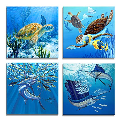 - Moyedecor Art - 4 Pieces Wall Art Paintings Turtle And Tuna In The Blue Underwater Uorld Of Art Pictures Prints On Canvas Decoration Home and Office - Size:12