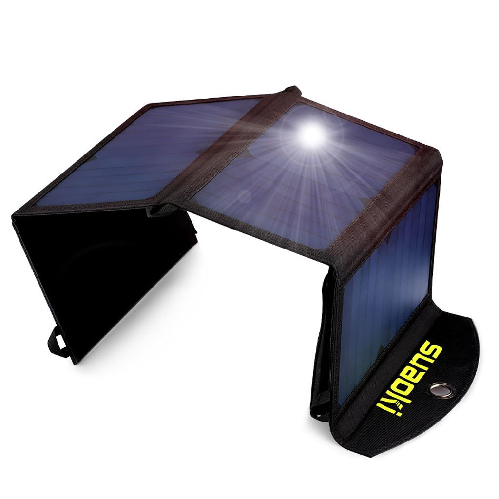 Suaoki 25W Solar Charger Portable Foldable Solar Panel Sunpower Mono-Crystalline Universal Phone Charger with 2-Port USB Ports, TIR-C Technology for All USB Device by SUAOKI