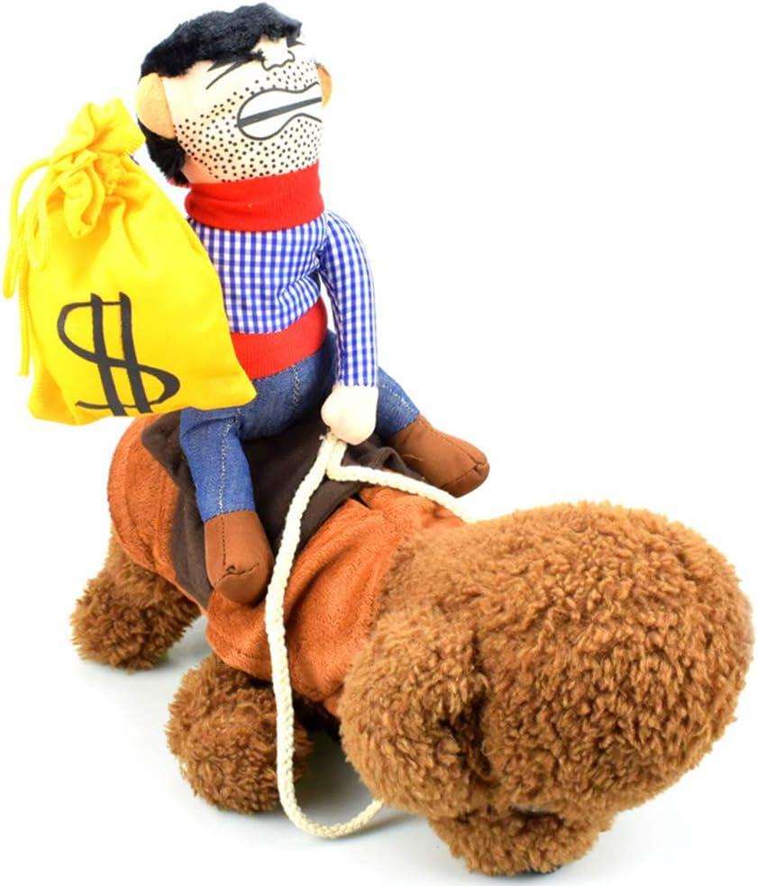 Bhyim Disfraz de Vaquero para Mascota, diseño de Caballo Montando con Monedero Decorativo, Juguete para Gato, Perro, Cachorro, 01, Small