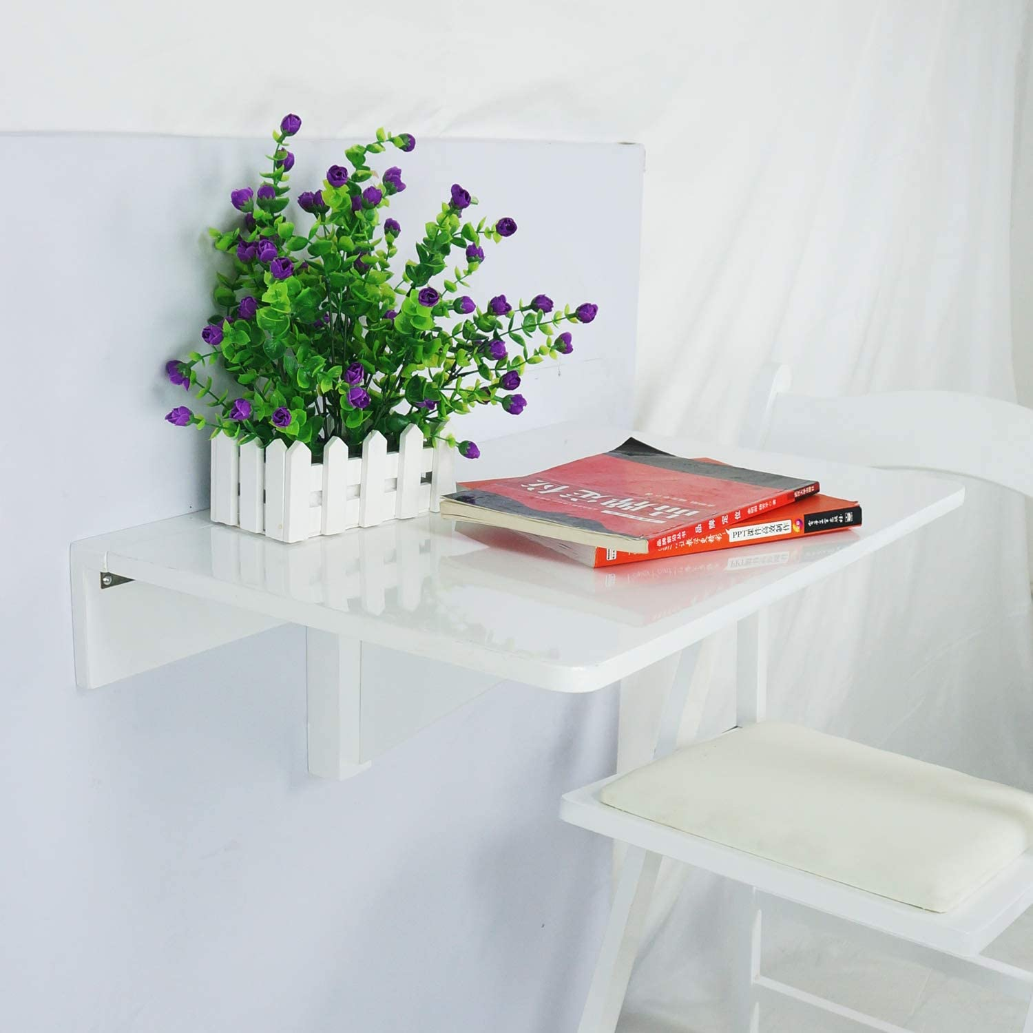 Jin Qi,Contra la pared,mesa plegable, escritorio,de color blanco ...