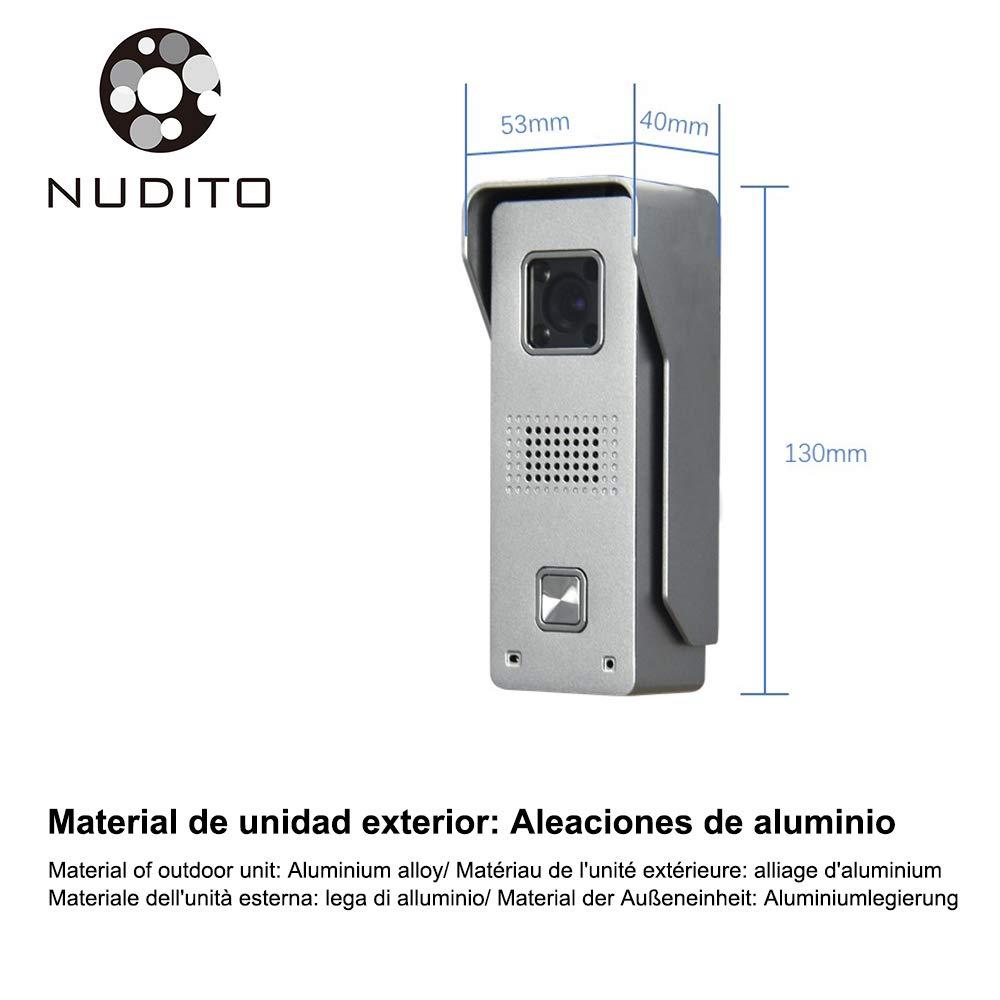 1 X Monitor LCD da 4,3 Pollici, 1 X Telecamera Esterna a Infrarossi Impermeabile con Visione Notturna. Sblocco con Carte RFID Nudito Kit Videocitofono in Stile Piatto e Fine Video Citofono Porta