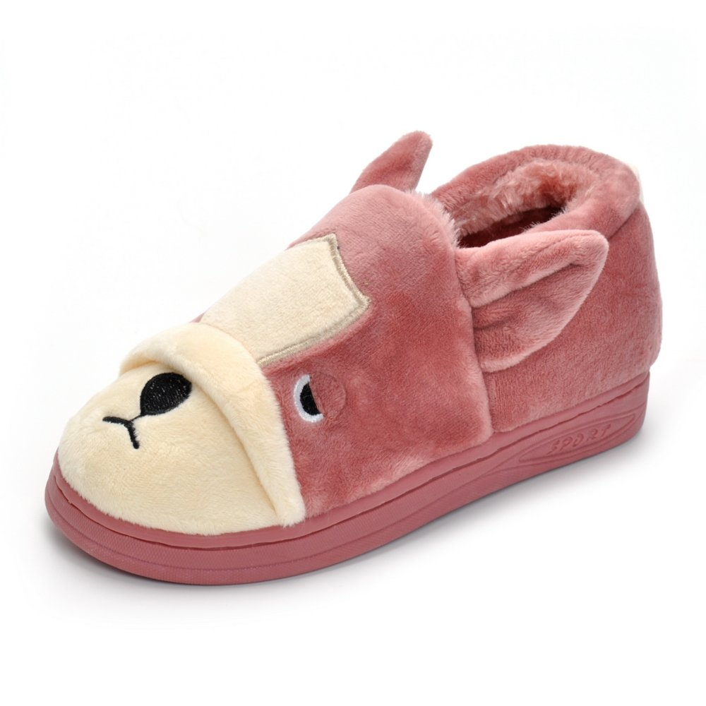 Matt Keely Pink Doggy Toddler Little Kids Plush Slippers Girls Winter Warm Indoor Bedroom Shoes With Fur