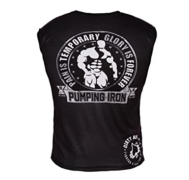 Pumping Iron Muscle Development Black /& Grey Fitness Workout T-Shirt
