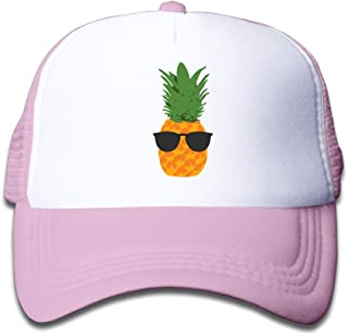 Kids Cool Pineapple With Sunglasses Trucker Mesh Baseball Cap Hat Trucker Hats Pink