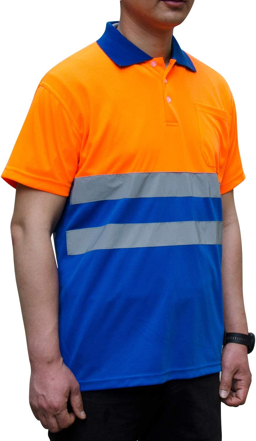 Safety shirt Hi-vis Orange Construction workwear,Bright Security shirts for men,reflective shirt.
