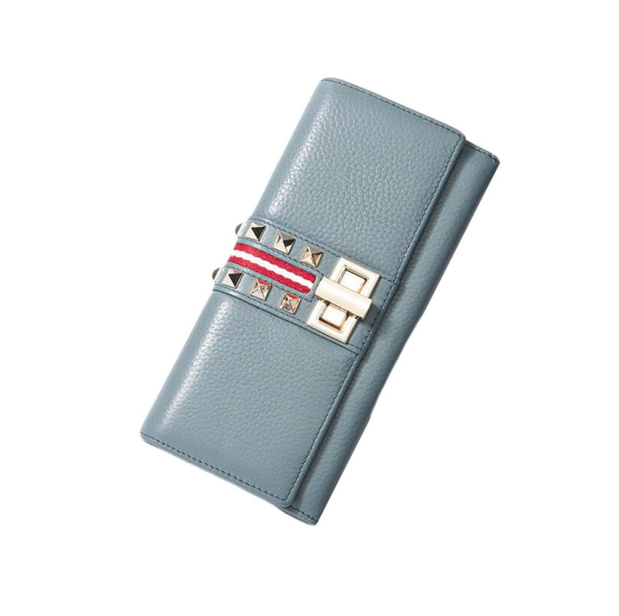 bluee Fashion Personality Wallet Ladies Long Paragraph Lock Rivet Handbag Bag,GreyOneSize