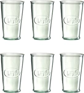 Amici Home Italian Recycled Green Milk Glass, 11oz, Set of 6