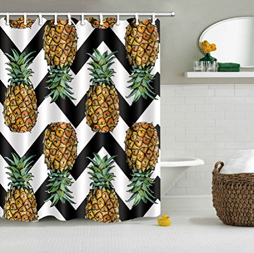 LB Pineapple on Black White Chevron Pattern Decor Shower Cur