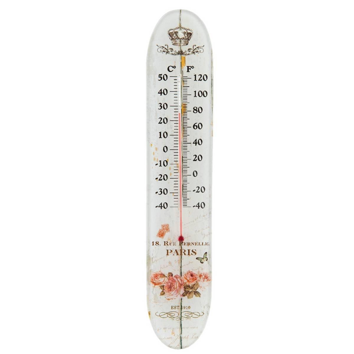 Clayre & Eef 63537 Außenthermometer Außen - Thermometer PARIS ca. 6 x 1 x 30 cm