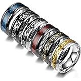 JEWPARK 6Pcs 8mm Stainless Steel Rings for Men Celtic Dragon Beveled Edges Celtic Black Rings Carbide Wedding Band Ring Set,