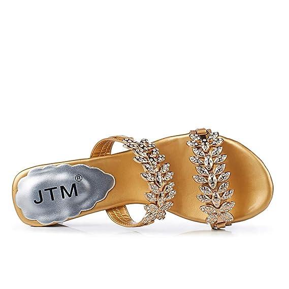 Bestow Sandalias y Diamantes de imitación para Mujeres con un par de Zapatillas Abiertas de Gran tamaño Zapatos de Fiesta Crystal Flip Flops: Amazon.es: ...