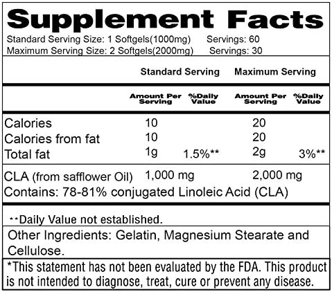 CLA 2000 mg with Active Conjugated Linoleic Acid - Weight Loss Supplement for Men and Women - Body Shaping and Toning Formula That Supports Your Dieting Goals (60 Softgels) 9