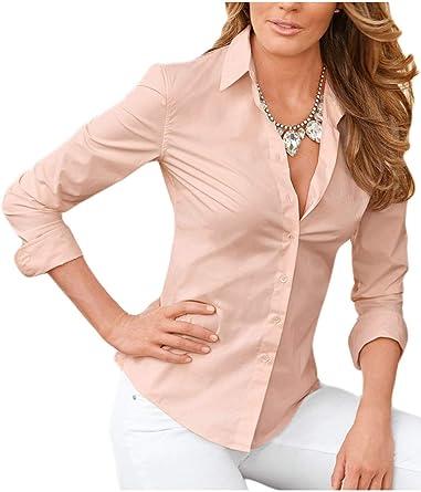 Mujer Formal Blusas Sólidas Camisa De Manga Larga Dama De Corte Slim Rosa M: Amazon.es: Ropa y accesorios