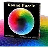 D-FantiX 1000 Piece Jigsaw Puzzles for Adults and Kids, Large Round Rainbow Palette Jigsaw Puzzle Games Toy