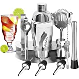Set da cocktail, 12 pezzi / set di strumenti professionali per cocktail shaker in acciaio inossidabile, Kit Shaker Cocktail,  Adatto a baristi di livello familiare Cocktail Shaker Regali per Uomo